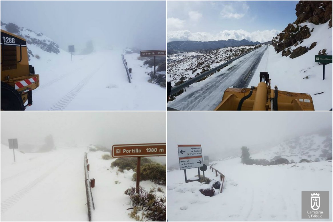 Road closures on mount Teide due to heavy snow